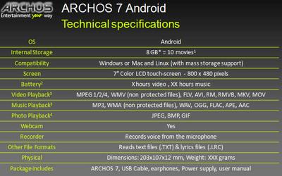 Archos 7 specsheet