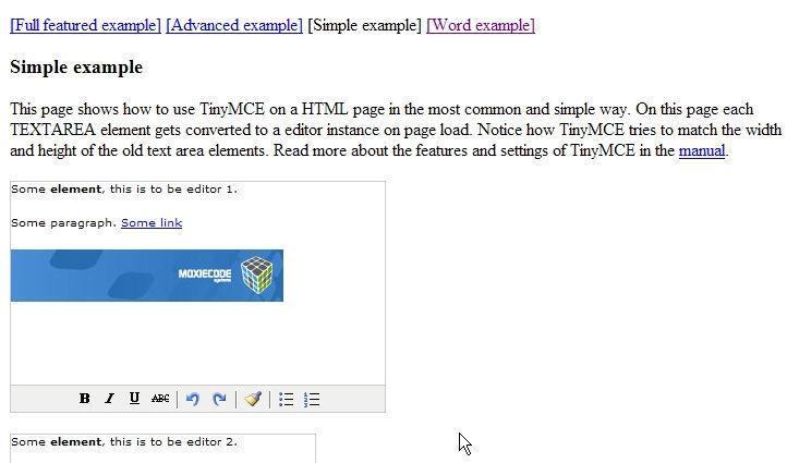 TinyMCE simpleDemo