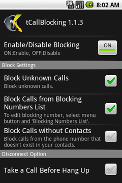 Android software - tCallBlocking
