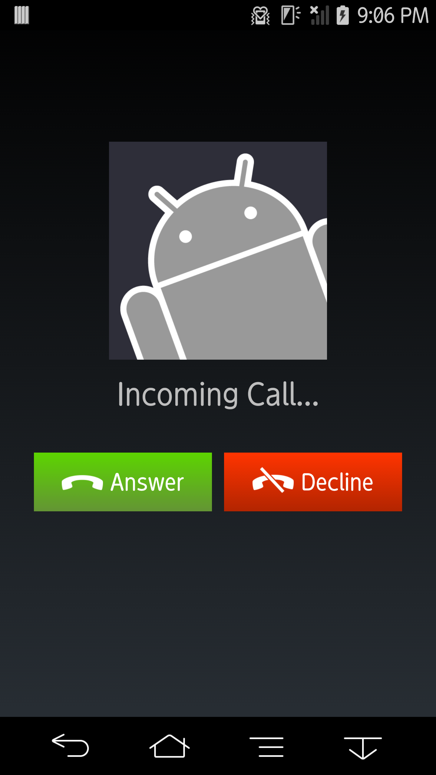 Image Gallery incoming call screen